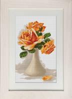 """Набор для вышивки крестом """"Оранжевые розы в вазе"""""""