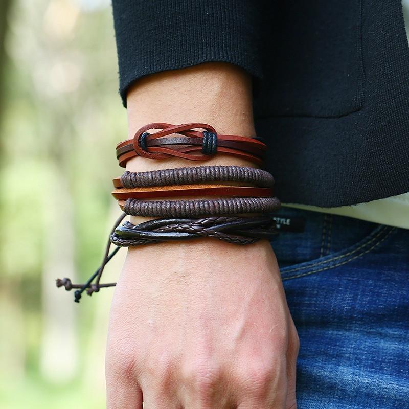 Многослойный браслет в стиле ретро Soft Набор из 6 браслетов из кожи Винтаж Мужской браслет - 1TopShop