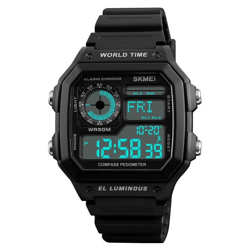 SKMEI1373ОбратныйотсчетКомпасВодонепроницаемы LED Цифровые часы Спортивные мужские наручные часы в стиле - 1TopShop
