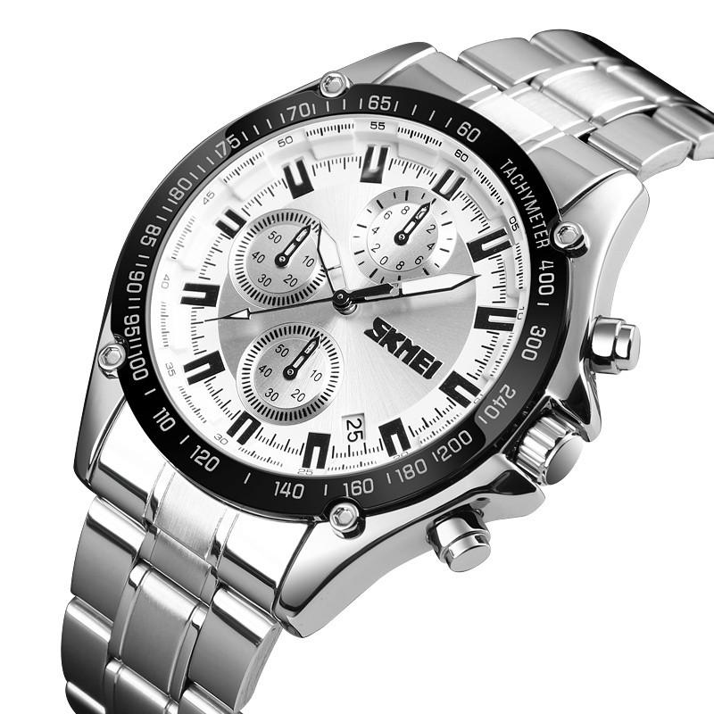 SKMEI1393НержавеющаястальДеловойстиль Водонепроницаемы Дата Дисплей Мужские наручные часы Кварцевые часы - 1TopShop