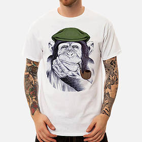 Мужскаяобезьянкаскороткимрукавомс принтом Шея Хлопковые милые футболки - 1TopShop