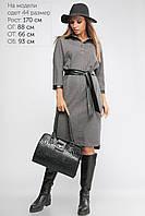 Женское платье с кожаной отделкой Lipar Тёмно-серое Батал