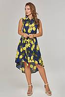 Платье из штапеля в лимоны Синее