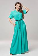 Женское платье из штапеля однотонное Lipar Бирюза