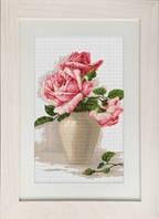 """Набор для вышивки крестом """"Розовые розы в вазе"""""""