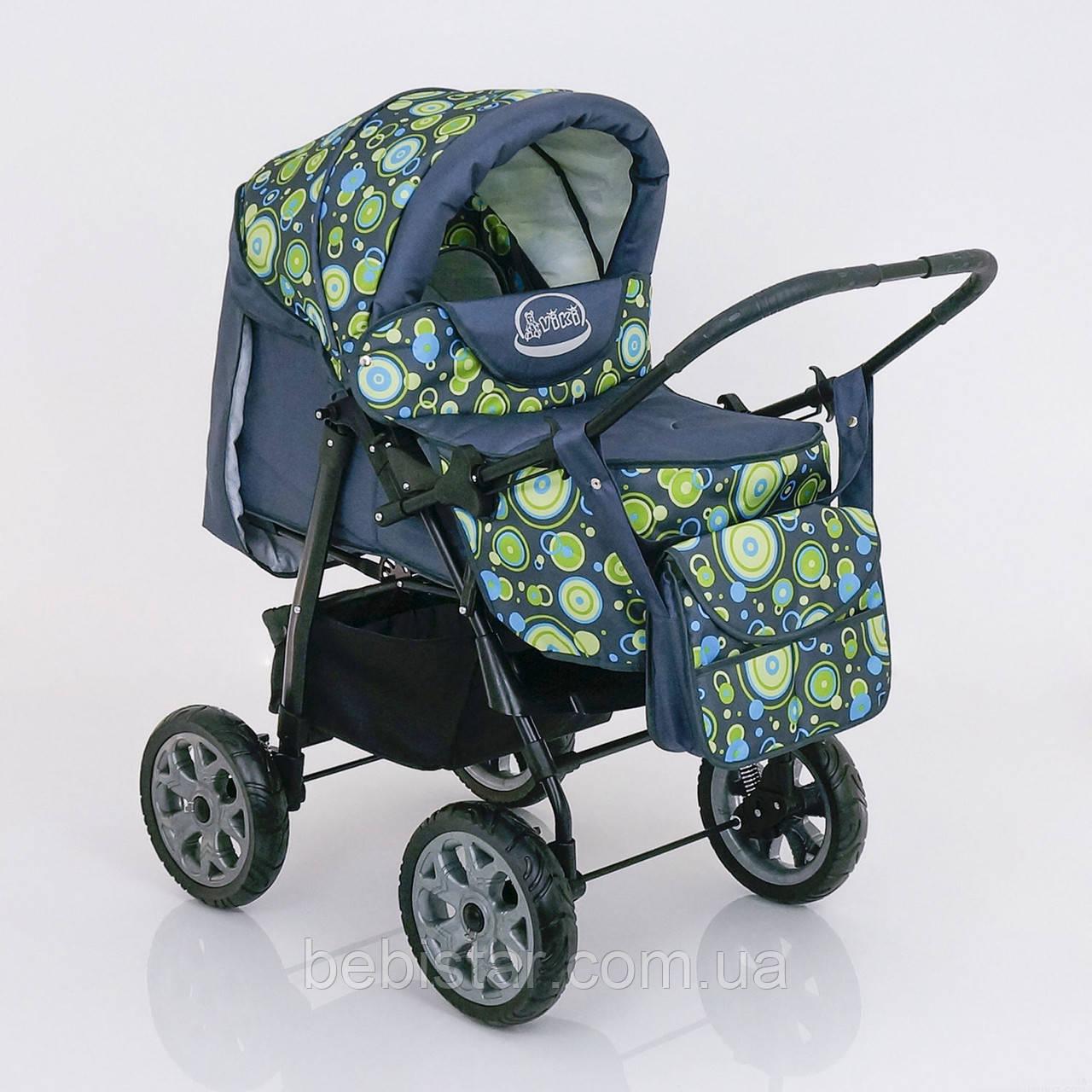 Детская коляска-трансформер зеленая абстракция Viki 86 Karina деткам от рождения до 3 лет