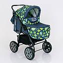 Детская коляска-трансформер зеленая абстракция Viki 86 Karina деткам от рождения до 3 лет, фото 3