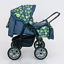 Детская коляска-трансформер зеленая абстракция Viki 86 Karina деткам от рождения до 3 лет, фото 2