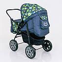 Детская коляска-трансформер зеленая абстракция Viki 86 Karina деткам от рождения до 3 лет, фото 6
