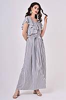 Женское платье макси в широкую полоску Lipar Серое