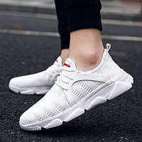 Большой размер летающих сплетенных мужская обувь легкие дышащие белые сетки кроссовки мужская повседневная спортивная обувь - 1TopShop
