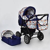 Детская коляска-трансформер 2в1 синяя абстракция Viki 86 Karina дождевик люлька-переноска от рождения до 3 лет