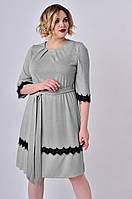 Женское платье с ажурным кружевом Lipar Серое Батал