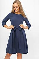 Женское платье с бантом на поясе Lipar Синее