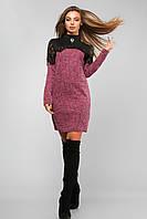 Женское платье с кружевом и гипюром Lipar Розовое Батал