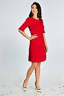 Женское нарядное платье с рюшей Lipar Красное 48