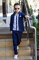 Детский костюм для мальчиков классика тройка (рубашка в комплекте), белый, тёмно синий, голубой, фото 1