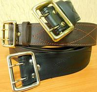 Ремни офицерские кожаные черного цвета, 125 см и др на выбор