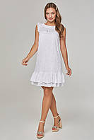 Женское платье-безрукавка из прошвы с воланами Lipar Белое