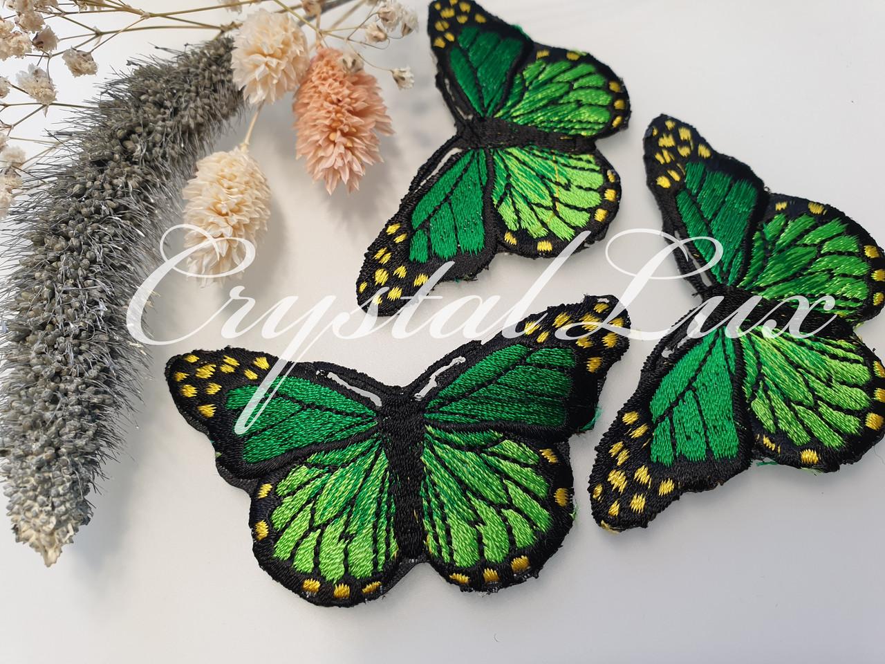 Аппликация термоклеевая Бабочка 2,5*7,5см, Green 1шт
