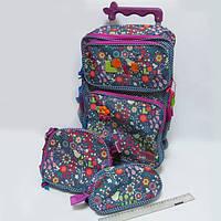 Набор рюкзак  на колесах Цветы  + пенал +сумка
