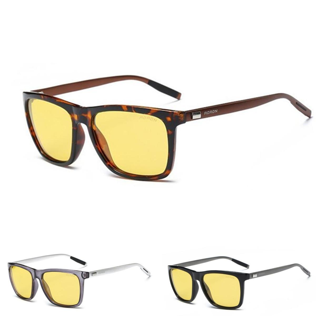AORON Алюминиевые мужские поляризованные солнцезащитные очки для вождения Очки с антибликовым покрытием ночного видения Объектив - 1TopShop