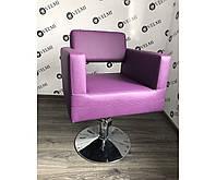 Кресло парикмахерское для клиента фиолетовое на гидравлическом подъемном механизме (гидравлика)