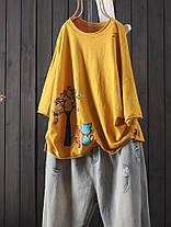 Женские повседневные хлопковые льняные футболки Crew Шея - 1TopShop, фото 2