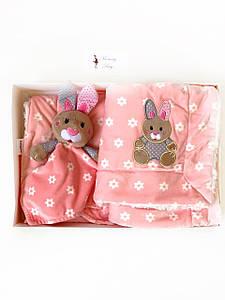 Одеяло-плед двухстороннее Minky Джулия BabyOno + игрушка