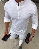 Мужская рубашка белая Slim Fit с воротником стойкой., фото 1