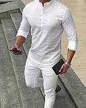 Мужская рубашка белая Slim Fit с воротником стойкой, фото 3