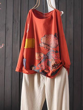 Женские повседневные хлопчатобумажные футболки с принтом без рукавов Шея Футболки - 1TopShop, фото 2