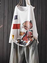 Женские повседневные хлопчатобумажные футболки с принтом без рукавов Шея Футболки - 1TopShop, фото 3
