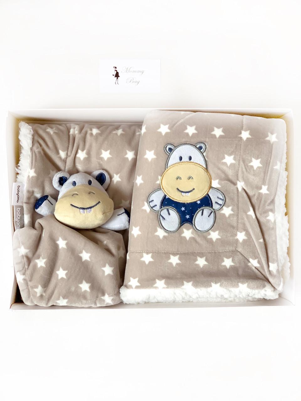 Одеяло-плед двухстороннее Minky Бегемотик BabyOno + игрушка