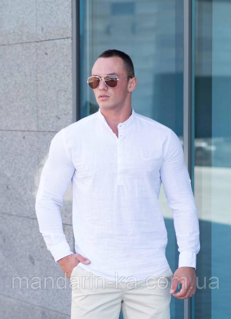 Рубашка мужская  белая   Slim Fit с воротником стойкой.