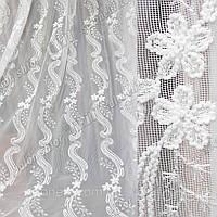 Гардинная тюль Вышивка на сеточке белого цвета