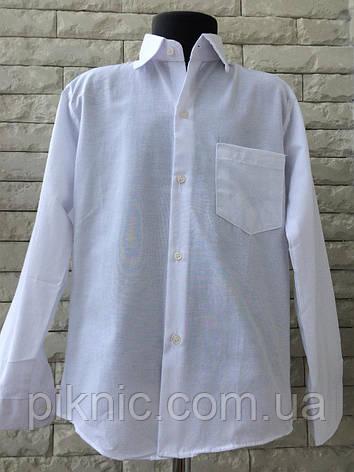Рубашка школьная для мальчиков 11 лет. Длинный рукав, детская, Турция. Белая, фото 2