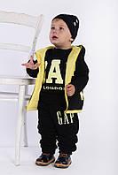 Детский костюм тройка Gap с двухсторонней жилеткой (девочка+мальчик), меланж, чёрный, фото 1
