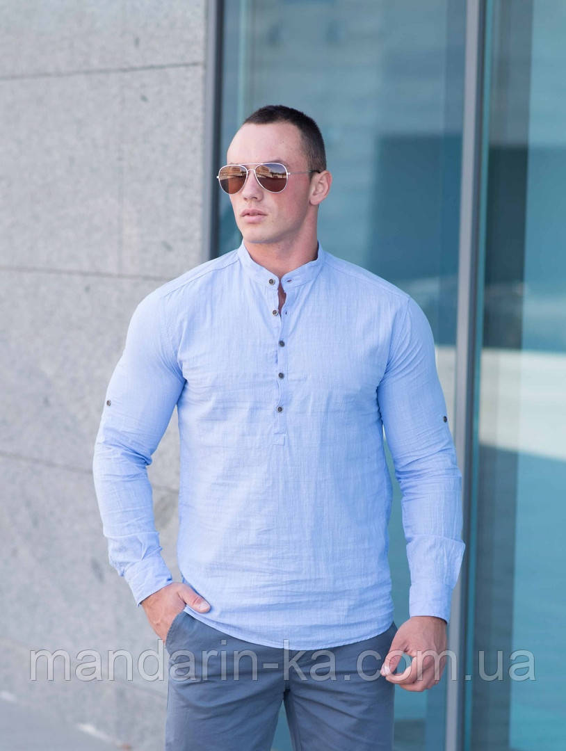 Рубашка мужская голубая Slim Fit с воротником стойкой.