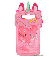 Чехол-накладка TPU 3D (Жидкий Блеск) Little Unicorn для Samsung Galaxy J5 (2016) SM-J510H Pink