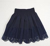 Юбка для девочки с французским кружевом р.  116-134 ТЕМНО-СИНИЙ, фото 1