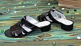 Женские кожаные черные шлепанцы на невысоком каблуке, фото 2