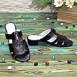 Женские кожаные черные шлепанцы на невысоком каблуке, фото 4