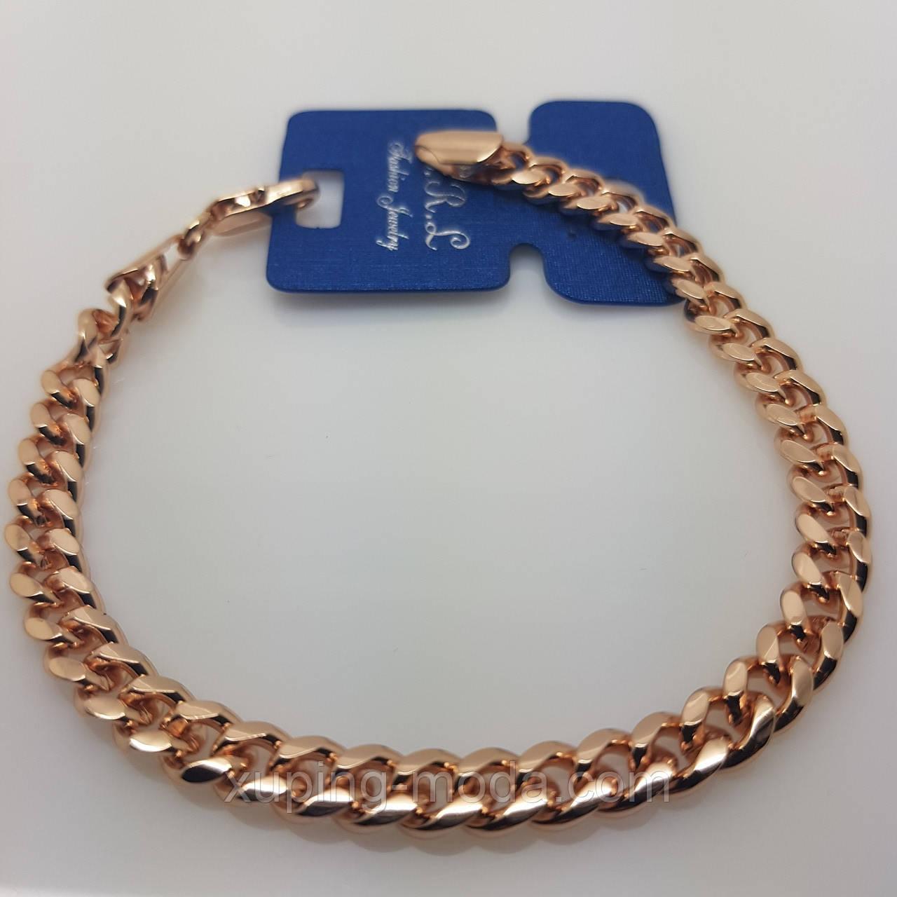 Широкий женский браслет, розовое золото, 19х7 мм