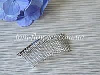 Гребень для волос металлический, хром., фото 1