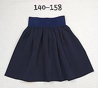 Классическая школьная детская юбка р. 140-158 ТЕМНО-СИНИЙ, фото 1