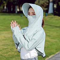 Женская печатная солнцезащитный крем Шея Защитная одежда флоппи Шапка Короткое новое тонкое пальто UV Защита На открытом воздухе Солнцеза - 1TopShop