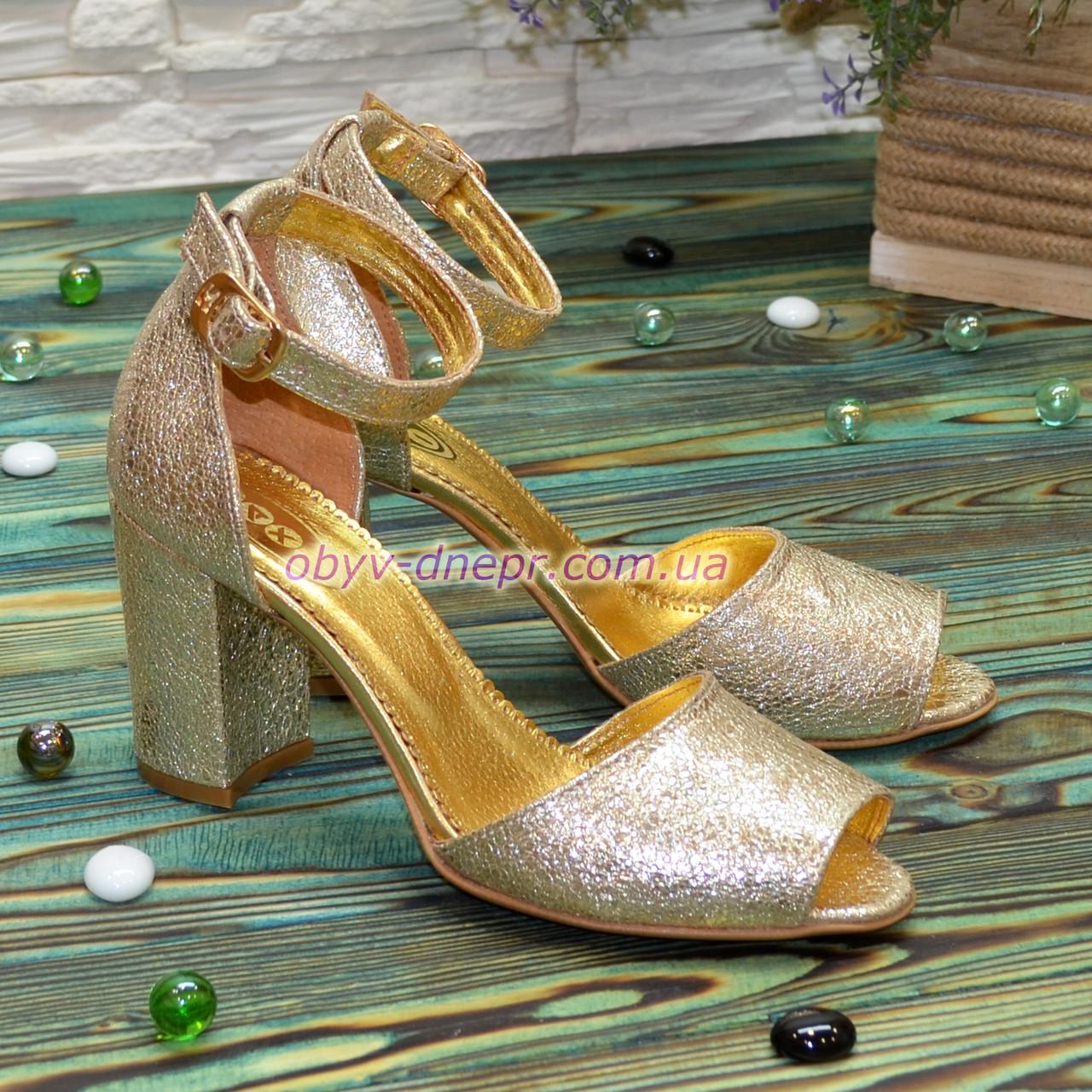 Босоножки кожаные женские на устойчивом каблуке, цвет золото