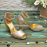 Босоножки кожаные женские на устойчивом каблуке, цвет золото, фото 3