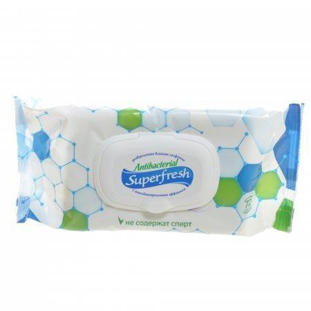Салфетки влажные Super FRESH 72 штуки, Антибактериальные с Клапаном 15*18,5